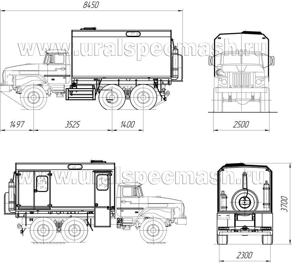 Габаритный чертеж передвижной мастерской ПАРМ Урал 43203-1112-61Е5