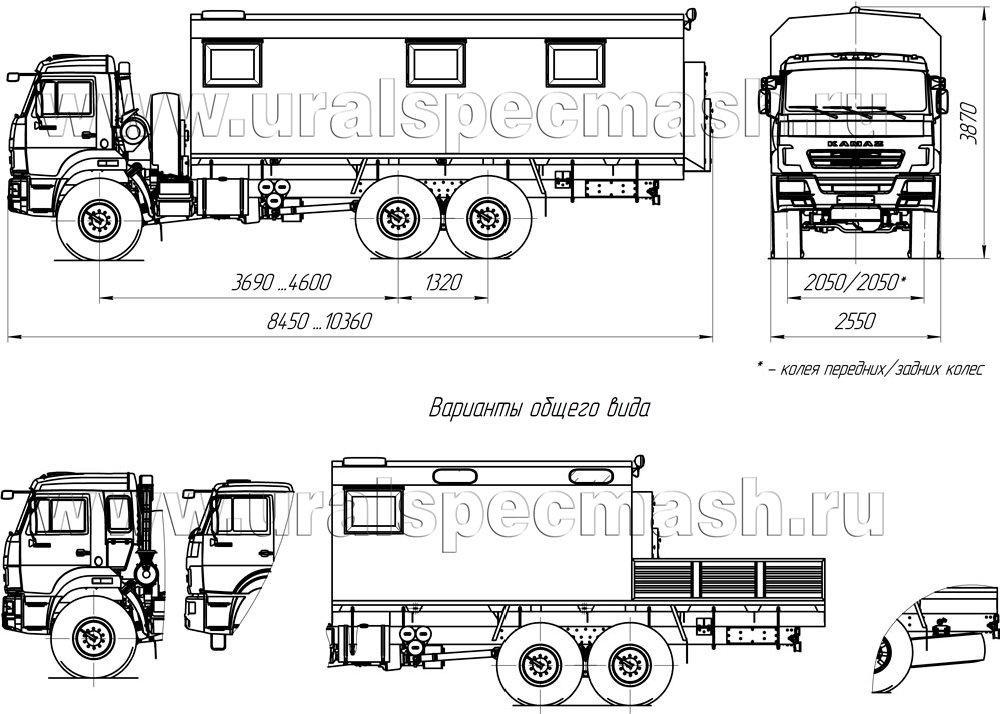 Габаритный чертеж ПАРМ на шасси Камаз 43118