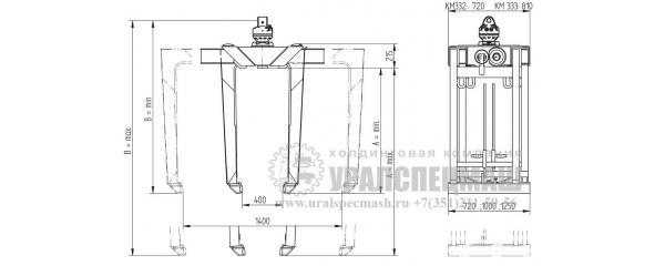 Габаритный чертеж Захват для палет КМ 332/333