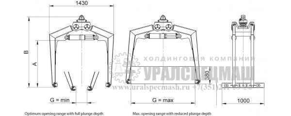 Габаритный чертеж Захват для палет КМ 331
