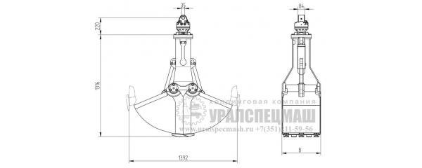 Габаритный чертеж Грейфер КМ 603