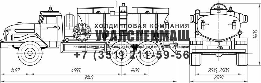 Габаритный чертеж АЦ-12 Урал 4320