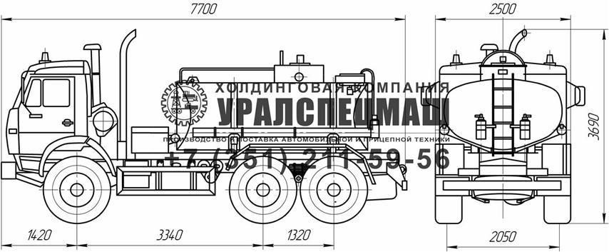 Габаритный чертеж АЦ-7,5 Камаз 43114
