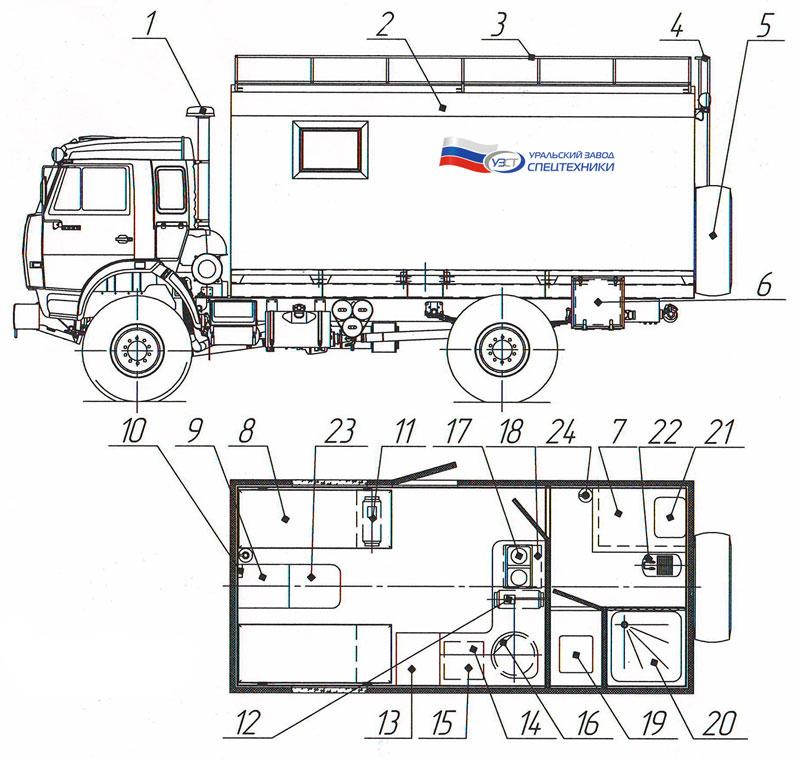 Планировка жилого модуля Камаз 4326-1036-15