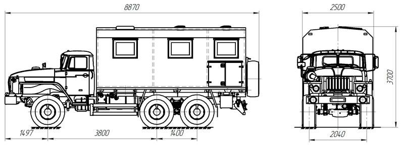 Габаритный чертеж транспортно-бытовой машины Урал 4320-1112-61Е5 (005)