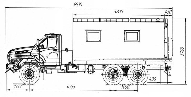 Габаритный чертеж транспортно-бытовой машины Урал-NEXT 4320-6952-72Е5Г38 (004)