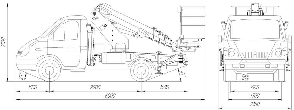 Габаритный чертеж телескопического автогидроподъемника АНТ-12 ГАЗ-3302