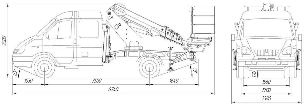 Габаритный чертеж телескопического автогидроподъемника АНТ-12 ГАЗ-33023