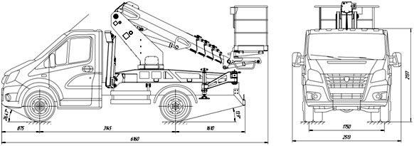 Габаритный чертеж телескопического автогидроподъемника АНТ-12 ГАЗ-A21R22