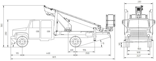 Габаритные размеры подъемника ВИПО-18-01 на базовом шасси ГАЗ 33086 с двухрядной кабиной