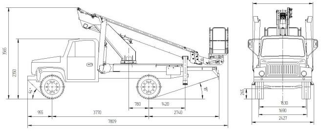 Габаритные размеры подъемника ВИПО-18-01 на базовом шасси ГАЗ 33086