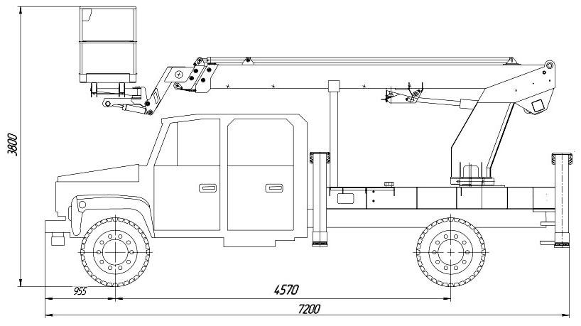 Габаритный чертеж телескопического автогидроподъемника АНТ-18 ГАЗ-3309 ИСП.1 с двухрядной кабиной