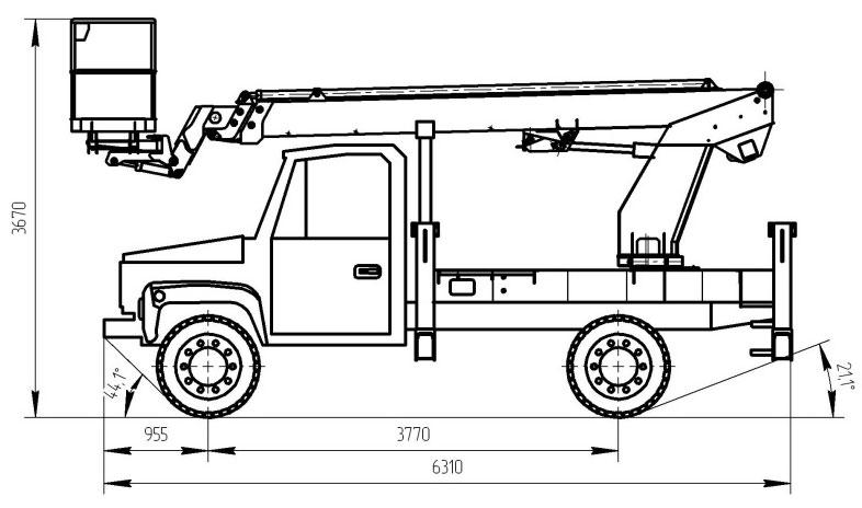 Габаритный чертеж телескопического автогидроподъемника АНТ-18 ГАЗ-3309 ИСП.1