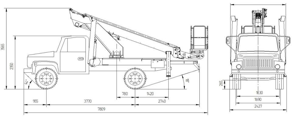 Габаритный чертеж телескопического автогидроподъемника АНТ-18 ГАЗ-3309
