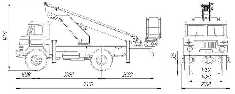 Габаритные размеры телескопического автогидроподъемника АНТ-18 ГАЗ-66