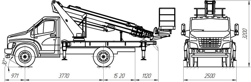 Габаритные размеры телескопического автогидроподъемника АНТ-22 ГАЗ-С41R33