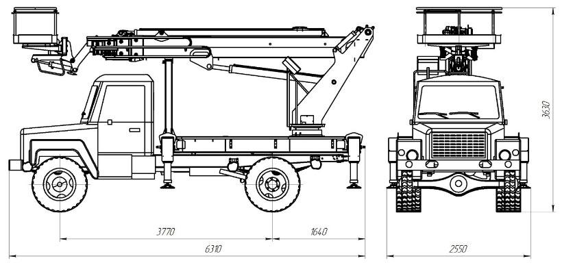 Габаритные размеры телескопического автогидроподъемника АНТ-22 ГАЗ-33088