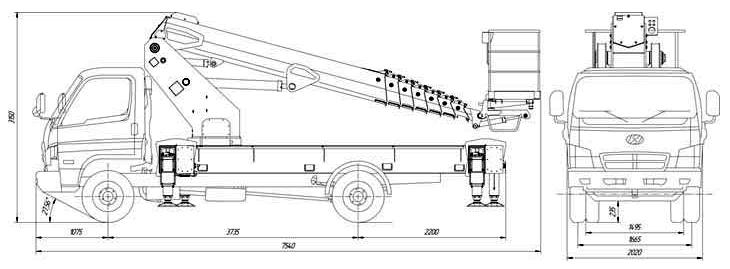 Габаритные размеры телескопического автогидроподъемника АНТ-24 Hyundai 78