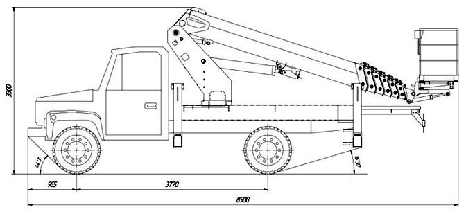 Габаритные размеры телескопического автогидроподъемника АНТ-24 ГАЗ-3309