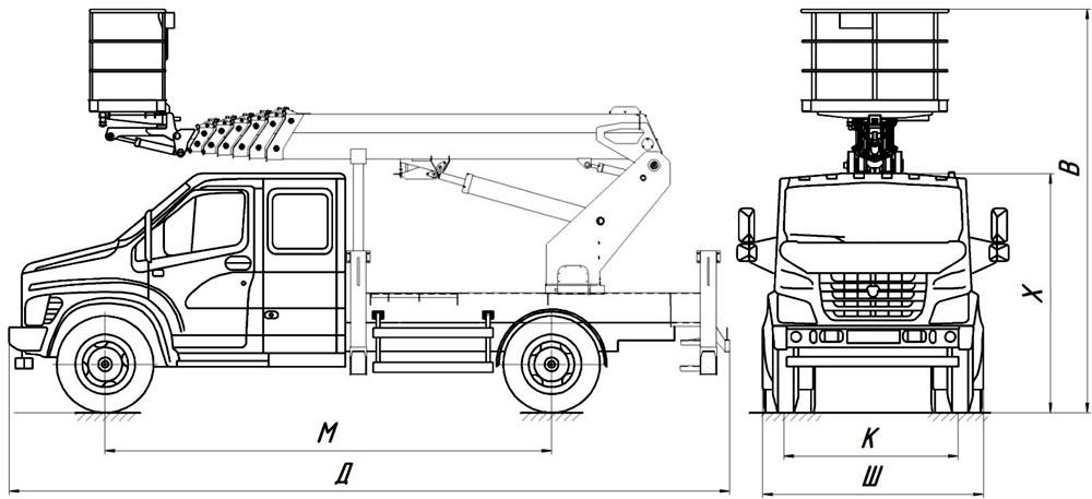 Габаритные размеры телескопического автогидроподъемника АНТ-24 ГАЗ-C42