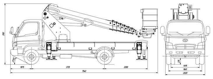 Габаритные размеры телескопического автогидроподъемника АНТ-24 Hino 300