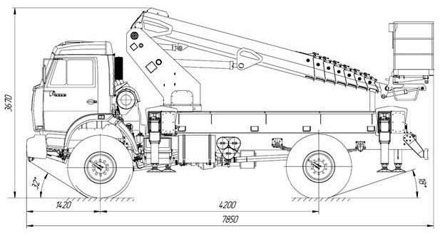 Габаритные размеры телескопического автогидроподъемника АНТ-24 Камаз 43502