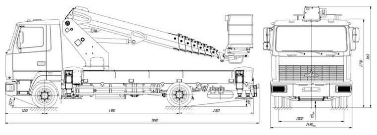 Габаритные размеры телескопического автогидроподъемника АНТ-24 МАЗ-4371