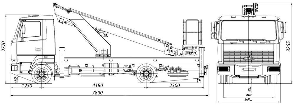 Габаритные размеры телескопического автогидроподъемника АНТ-24 МАЗ-4471