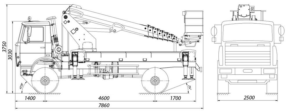 Габаритные размеры телескопического автогидроподъемника АНТ-24 МАЗ-5434