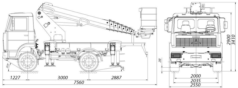 Габаритные размеры телескопического автогидроподъемника АНТ-24 МАЗ-5551
