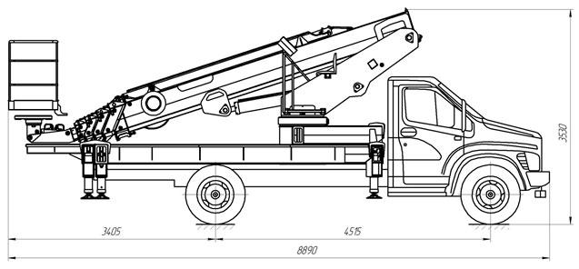 Габаритный чертеж телескопического автогидроподъемника с дополнительным коленом АНТ-28 ГАЗ С41R33