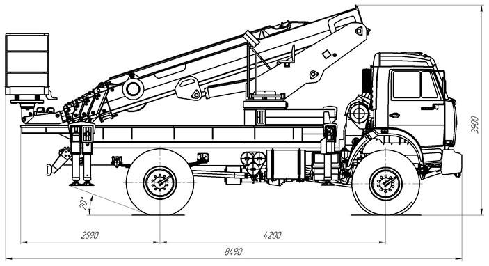 Габаритный чертеж телескопического автогидроподъемника с дополнительным коленом АНТ-28 Камаз 43502