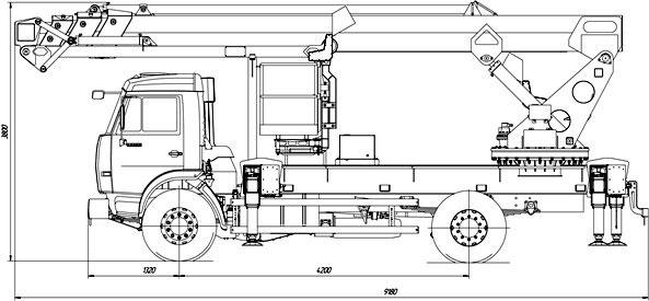 Габаритный чертеж телескопического автогидроподъемника с дополнительным коленом АНТ-32 Камаз 43118