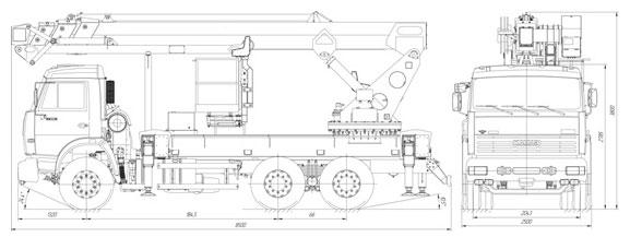 Габаритный чертеж телескопического автогидроподъемника с дополнительным коленом АНТ-32 Камаз 65115