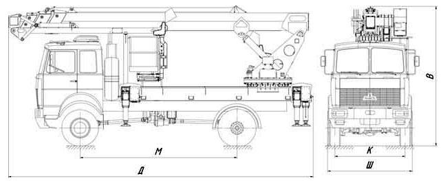 Габаритный чертеж телескопического автогидроподъемника с дополнительным коленом АНТ-32 МАЗ 5316Х5