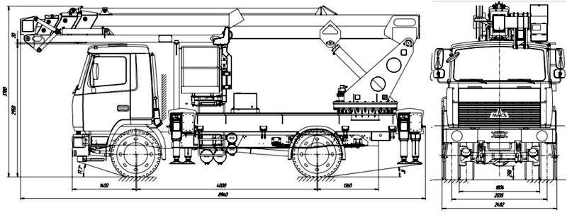 Габаритный чертеж телескопического автогидроподъемника с дополнительным коленом АНТ-32 МАЗ 5340В3