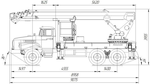 Габаритный чертеж телескопического автогидроподъемника с дополнительным коленом АНТ-32 Урал 4320-1912-60Е5