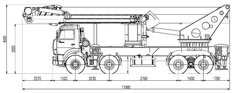Габаритный чертеж телескопического автогидроподъемника с дополнительным коленом АНТ-56 МАЗ 6516С9