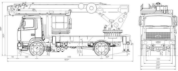 Габаритный чертеж автогидроподъемника АПК-30