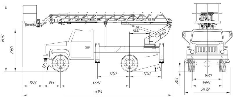 Габаритный чертеж автогидроподъемника АНТ-18 ГАЗ 33086 лестничного типа