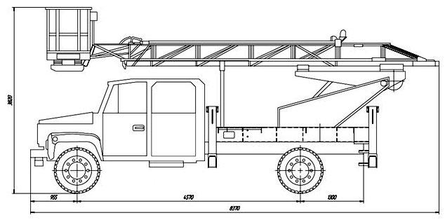 Габаритный чертеж автогидроподъемника АНТ-20 ГАЗ 3309 лестничного типа