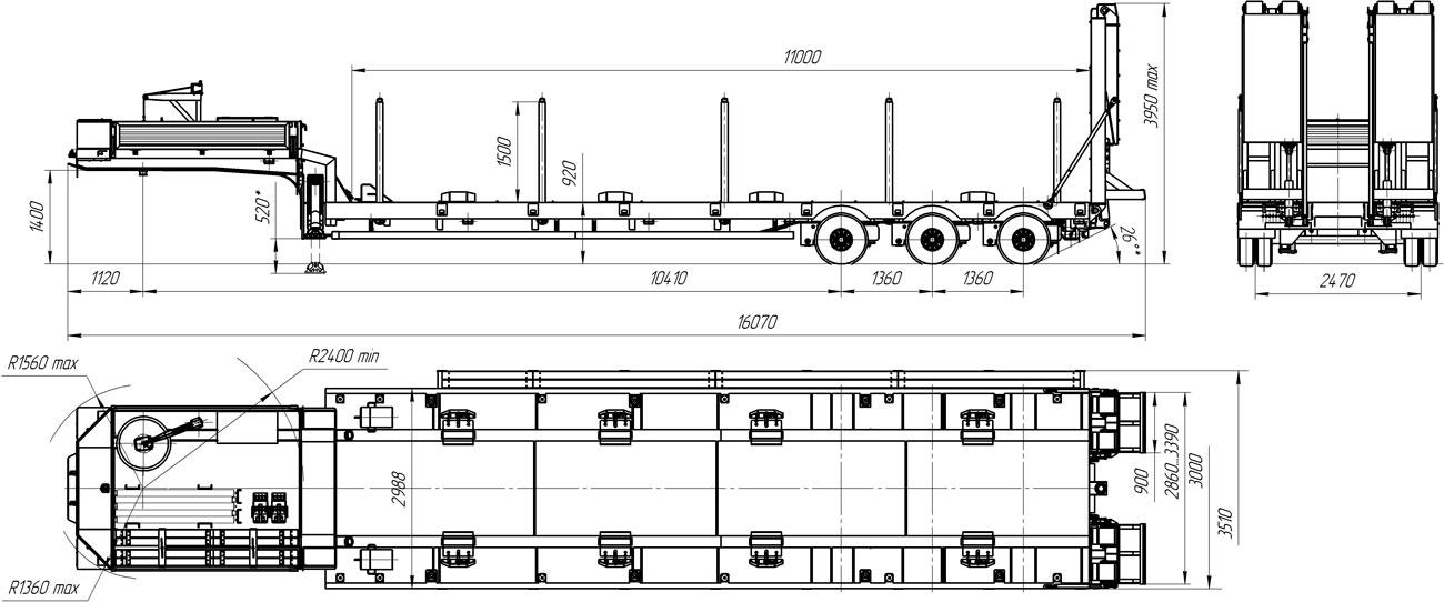 Габаритный чертеж полуприцепа-тяжеловоза УЗСТ 9174-001Н3