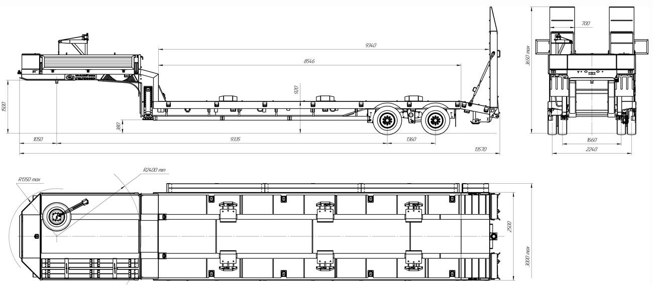 Габаритный чертеж полуприцепа-тяжеловоза высокорамного марки УЗСТ 9175-002Н2