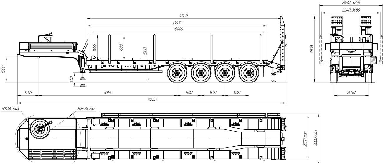 Габаритный чертеж 4-осного трала марки УЗСТ 9176-002В4