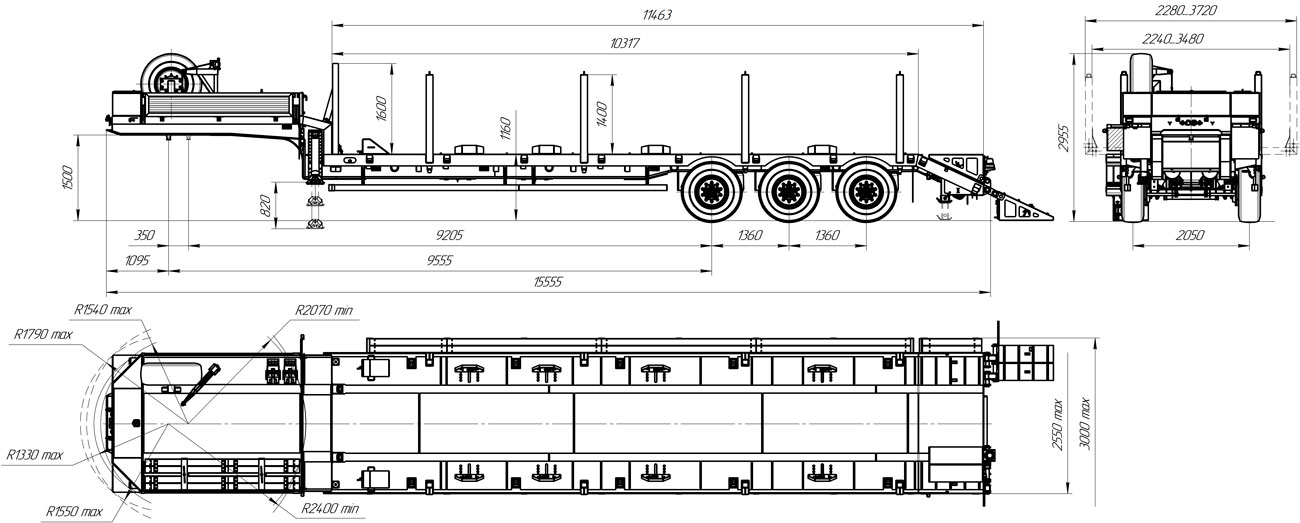 Габаритный чертеж Полуприцеп-тяжеловоза УЗСТ 9174-003В3