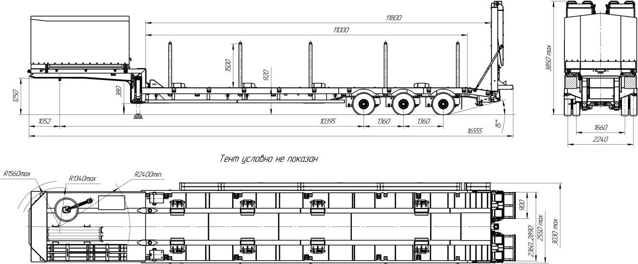 Габаритный чертеж полуприцепа-тяжеловоза марки УЗСТ 9174-004Н3