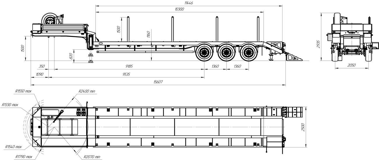 Габаритный чертеж полуприцепа-тяжеловоза УЗСТ 9174-004В3