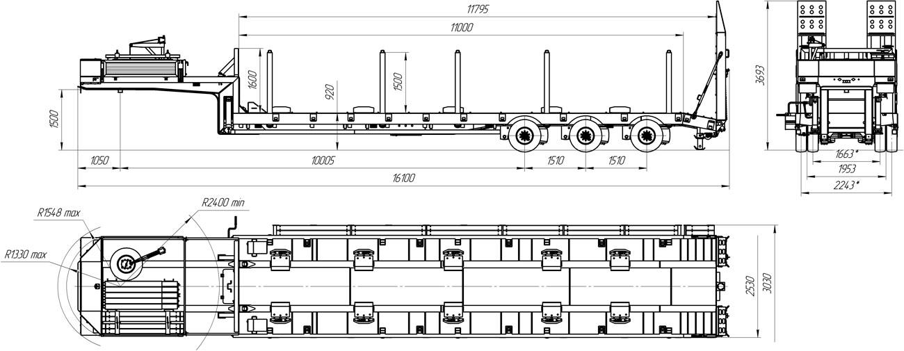 Габаритный чертеж полуприцепа-тяжеловоза низкорамного марки УЗСТ 9174-009Н3 (45 т.)