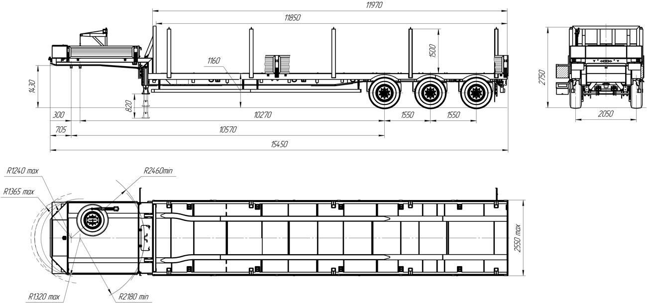 Габаритный чертеж полуприцепа-тяжеловоза УЗСТ 9174-010В3
