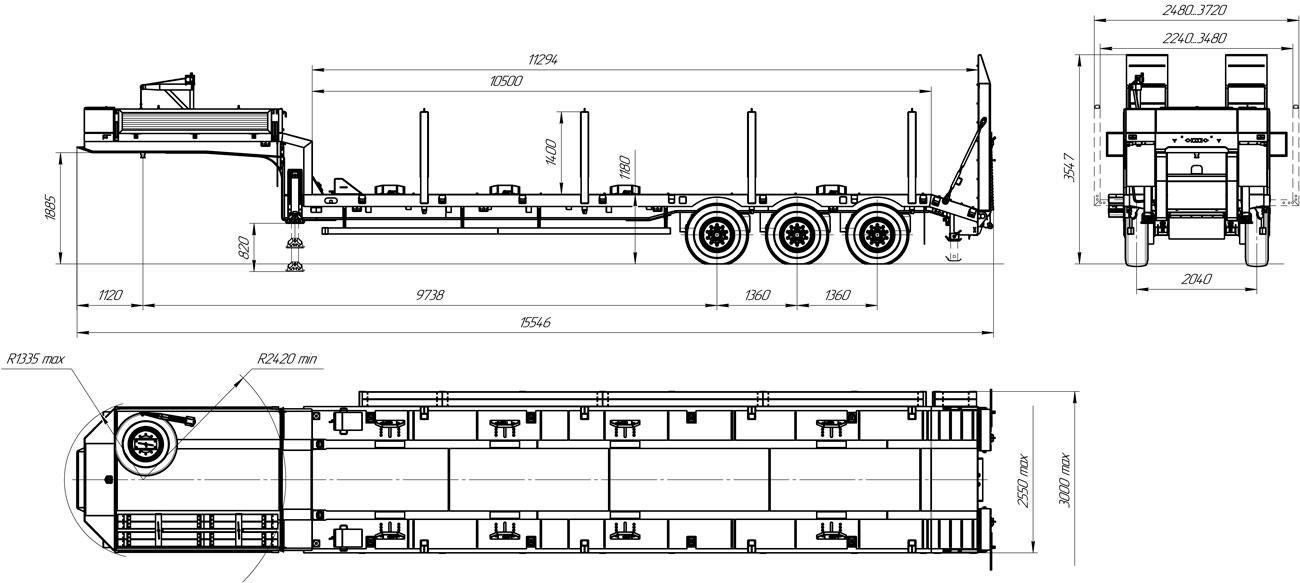Габаритный чертеж полуприцепа-тяжеловоза УЗСТ 9174-011В3 (36 т.)